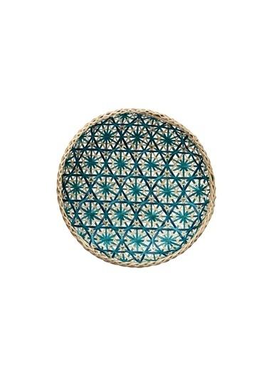 Warm Design Dekoratif El Dokuma Bambu Tepsi Renkli